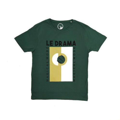 Camiseta verde oscuro estampada