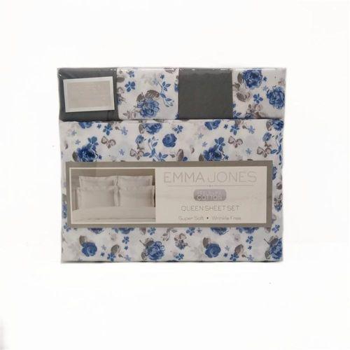 Set de sabanas Queen floral print azul
