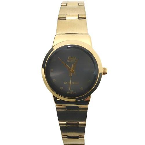 Reloj análogo metálico dorado
