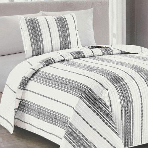 Cubrecama 2pc wesley stripe gris twin