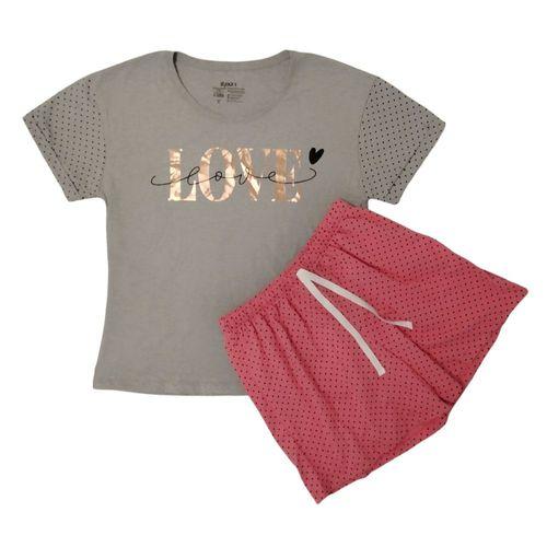 Pijama corta estampado love