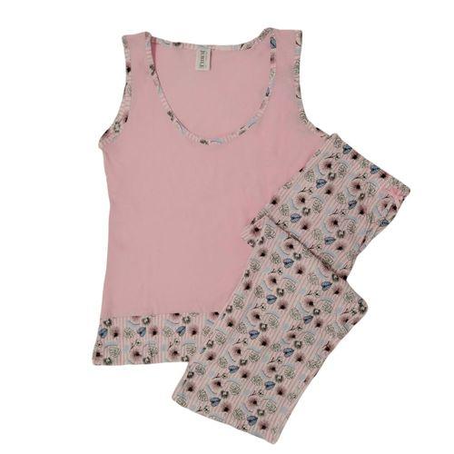 Pijama capri rosa estampada