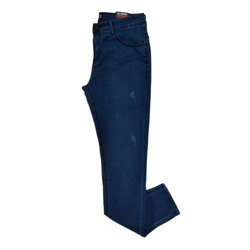 Jeans slim fit azul semi rasgado
