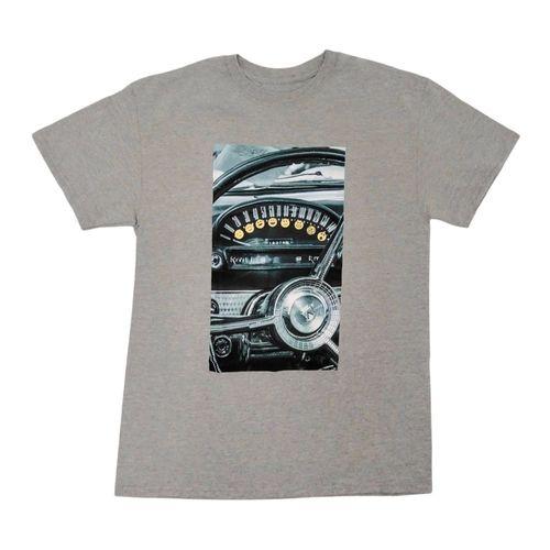 Camiseta estampada gris jaspeado